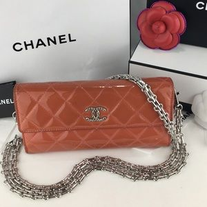 CHANEL Patent Flap Wallet on Mademoiselle Chain
